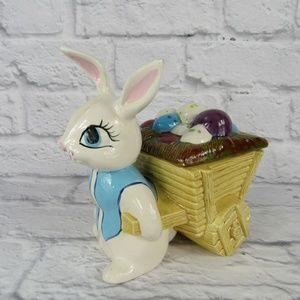 Ceramic Easter Bunny Pulling Egg Cart